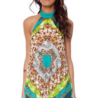 Paisley Pleated Halter Top in Teal Multi :: tobi