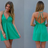 Green Strappy Back Sleeveless Dress