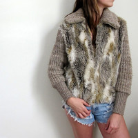 Vintage Faux Fur Jacket Knit Crochet Wool Grey Gray Womens Winter Warm Cozy Zip Up Down