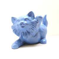 cat figurine, upcycled ceramics, periwinkle, home decor, kitsch, cornflower blue accents, mod, cats, figurines