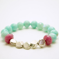 Mint and Pink Bracelet by ZorNella on Etsy