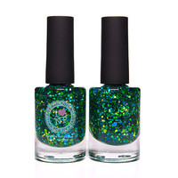 Old Gregg - Blue, Teal, Gold, Green Glitter Nail Polish