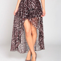 Leopard Hi Lo Skirt in Plum