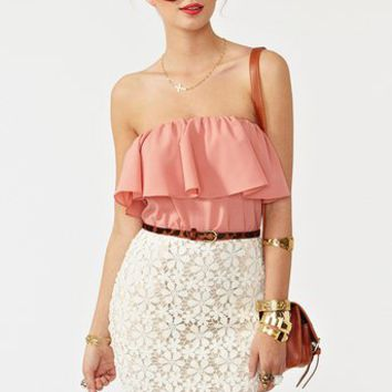 Ruffled Crochet Dress in  Clothes at Nasty Gal