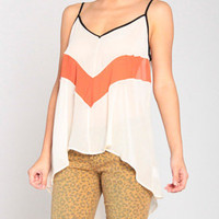 V Colorblock Cami Top in Cream/Rust