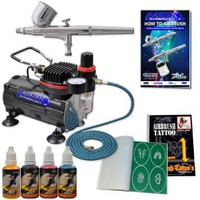 Master Airbrush® Brand Tattoo System. With Master G22 Airbrush, Air Compressor, Deluxe Book of 100 Tattoo Stencils, 6' Air Hose, Black, Blue, Red & Yellow Temporary Tattoo Ink in 1-oz Bottles. The Kit Now Includes a (FREE) How to Airbrush Training Book to