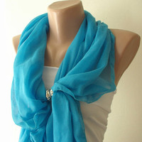 Blue sea blue Cotton Spring Scarf by Periay on Etsy
