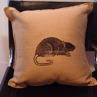 Rat Pillow Cover Artists Linocut Print 16x16   by VintageUpcycled