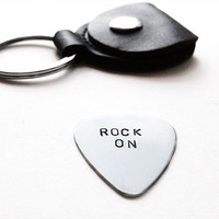 Silver guitar pick leather keychain - hand stamped keychain - rock on music lyric men