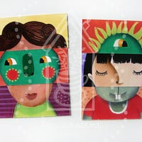 Magnet puzzle toy game for children with funny faces - Photo paper print on magnet.