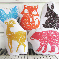 Woodland Creatures Collection. Hand Block Printed. Your choice of animals and colors. Made to order. SAVE 15%