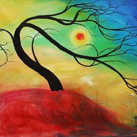 ABSTRACT FANCY SUNSET TREE 2, ORIGINAL PAINTING 35x31 | donspricly - Painting on ArtFire
