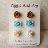 Blue Lotus, Caramel & Ivory Rose Stud Earrings by PiggleAndPop