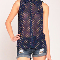 Faded Dots Sleeveless Top in Navy