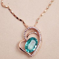 3D Cutout Heart Shape Crystal Necklace