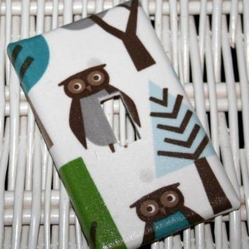 Switchplate made w Dwell Studio Owl Sky Baby Nursery
