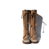 sz 6 tan leather lace up campus all boots by myfavoritevintage