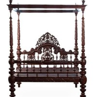 One Kings Lane - Michael Donaldson - Anglo-Indian Mahogany 4-Poster Bed