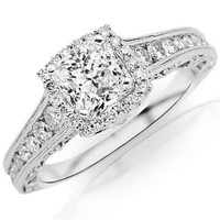 1.5 Carat Designer Halo Channel Set Round Diamond Engagement Ring w/ Princess Cut Center (G Color VS1 Clarity)