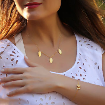 """Gold leaf necklace, brushed gold necklace, bridesmaid necklace, bridal necklace, minimalist jewelry, everyday necklace, """"Autumn Leaves"""""""