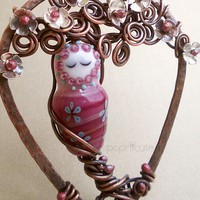 Pink Tree Goddess Copper Wire Necklace Artisan Silver Flowers Lampwork | popnicute - Jewelry on ArtFire