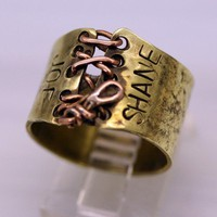 Personalized Hand Stamped Ring , Brass and Copper Corset Style | WhimOriginals - Jewelry on ArtFire
