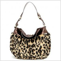 Plush Leopard Hobo