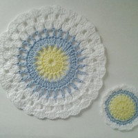 Set of 1 Crocheted Dishcloth & 1 Dish Scrubbie Yellow, Light Blue, & White