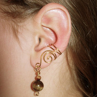 Pair of Brass Ear Cuffs with Genuine Tiger Eye by jhammerberg