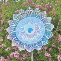 Blue Garden Art Yard Suncatcher UpCycled RePurposed by jarmfarm