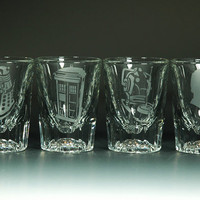2oz Dr Who Theme Etched Glass Shot Glasses by Invokethee on Etsy