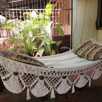 Beige Familiar Size Hammock hand-woven Natural Cotton Special Fringe