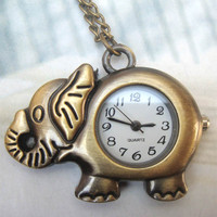 Retro Copper Elephant Pocket Watch Necklace Pendant Vintage Style - Animal