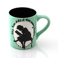 CIJ she has read too many books mug in seafoam green with vintage reader , sale