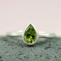 Silver Pear Peridot Ring - gemstone ring handmade ring silver ring | tooriginal - Jewelry on ArtFire