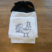 Embroidered Black Rooster Hanging Kitchen Towel With Hand Knit Topper | hollyknittercreations - Housewares on ArtFire