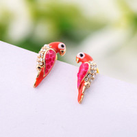 Lovely Parrot Rhinestone Earrings NKJ81
