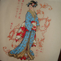 Classic Geisha Design Canvas Tote15x16 Double by EvangelinasCloset
