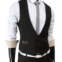 TheLees (TLV1) Mens Business Slim fit 3 Button Vest Waist Coat