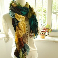 Flamboyant green yellow brown pretty bright Lattice SCARF L1 | flight0627 - Accessories on ArtFire