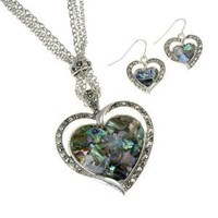 Large Abalone Heart Silvertone Statement Necklace and Earring Set