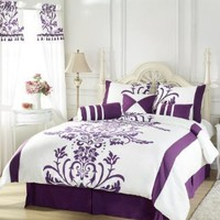 "Chezmoi Collection 7 Pieces White with Purple Floral Flocking Comforter (90""x92"") Set Bed-in-a-bag for Queen Size Bedding Machine Washable"