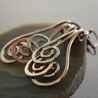 Swirl waves mixed metals earrings - Dangle earrings - Multicolored metal earrings.