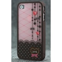 Brown and Pink Polka Dot Pattern Hard Case with Red Heart Love Design For Apple iPhone 4S / 4 (AT&amp;T, Verizon, Sprint)
