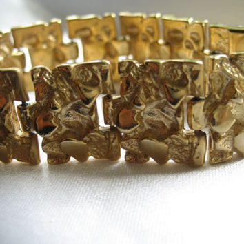 Vintage 18K Gold-Filled Stony Plates Linked Bracelet, Large Gold Bracelet, Fashion Bracelet, Stylish 18kt Bracelet, Retro Jewelry