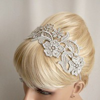 Silver lace headband with crystals | StitchesFromTheHeart - Accessories on ArtFire