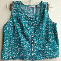 Vintage Polka Dot Cropped Tank Top Shirt Button Down Retro Indie Boho