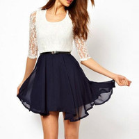 Womens Summer Chiffon Dress with Lace Insert