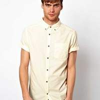 River Island Short Sleeve Oxford Shirt in Pastel at asos.com