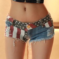 Jeans Shorts with US Flag HJG001